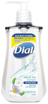 Dial Antimicrobial Liquid Soap, 7 1/2 oz Pump Bottle, White Tea, 12/Case.