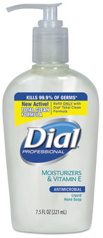 Picture of item DIA-84024 a Liquid Dial® Antimicrobial Soap with Moisturizers and Vitamin E,  7.5oz Décor Pump, 12/Case.