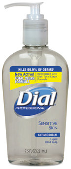 Dial® Professional Antimicrobial Soap for Sensitive Skin,  7.5oz Décor Pump Bottle, 12/Case.