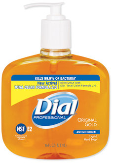Picture of item 966-259 a Liquid Dial® Gold Antimicrobial Soap, Floral Fragrance, 16 oz Pump Bottle, 12/Case.