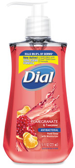 Picture of item DIA-02795 a Dial® Antimicrobial Liquid Soap,  7 1/2 oz Pump Bottle, Pomegranate & Tangerine. 12/Case.