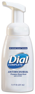 Picture of item 973-236 a Dial Complete® Antimicrobial Foaming Hand Soap Pump Bottle,  7.5 oz Tabletop Pump, 12/Case.