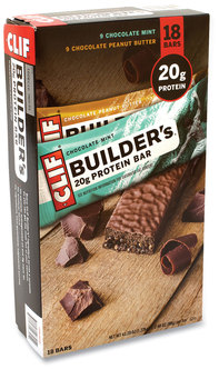 Picture of item GRR-22000543 a CLIF® Bar Builders Protein Bar, 9 Chocolate Mint, 9 Chocolate Peanut Butter, 2.4 oz Bar, 18 Bars/Box, Free Delivery