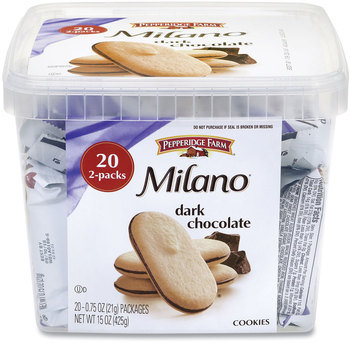Picture of item GRR-22000088 a Pepperidge Farm® Milano Dark Chocolate Cookies, 0.75 oz Pack, 20 Packs/Box, Free Delivery in 1-4 Business Days