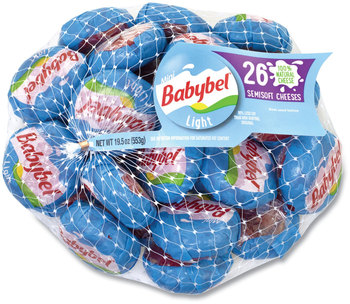 Mini Babybel® Cheese Wheels, Light, 19.5 oz Bag, 26 Wheels/Bag, Free Delivery in 1-4 Business Days