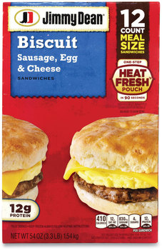 Jimmy Dean® Sausage, Egg and Cheese Biscuit Breakfast Sandwich, 54 oz, 12/Box, Free Delivery in 1-4 Business Days