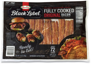 Hormel® Black Label® Fully Cooked Bacon, Original, 9.5 oz Package, Approximately 72 Slices/Pack, Free Delivery in 1-4 Business Days