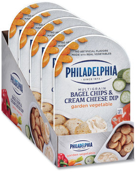 Picture of item GRR-90200454 a Kraft® Philadelphia Multigrain Bagel Chips & Garden Vegetable Cream Cheese Dip, 2.5 oz, 5/Box, Free Delivery in 1-4 Business Days