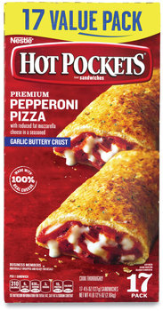 Hot Pockets® Sandwiches, Premium Pepperoni Pizza, 4.5 oz, 17/Box, Free Delivery in 1-4 Business Days