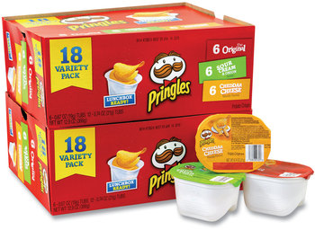 Picture of item GRR-22000407 a Pringles® Potato Chips, Assorted, 0.67 oz Tub, 18 Tubs/Box, 2 Boxes/Carton, Free Delivery in 1-4 Business Days