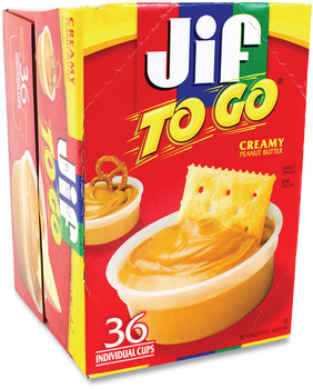 Jif To Go® Spreads, Creamy Peanut Butter, 1.5 oz Cup, 36 Cups/Box, Free Delivery in 1-4 Business Days