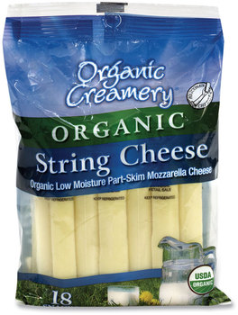 Organic Creamery® Organic String Cheese, Mozzarella, 1 oz, 18/Pack, Free Delivery in 1-4 Business Days