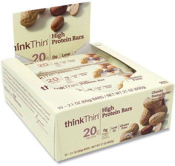 Picture of item GRR-20902477 a thinkThin® High Protein Bars, Chunky Peanut Butter, 2.1 oz Bar, 10 Bars/Carton, Free Delivery in 1-4 Business Days