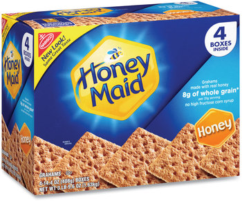 Picture of item GRR-22000442 a Nabisco® Honey Maid® Honey Grahams, 14.4 oz Box, 4 Boxes/Pack, Free Delivery in 1-4 Business Days