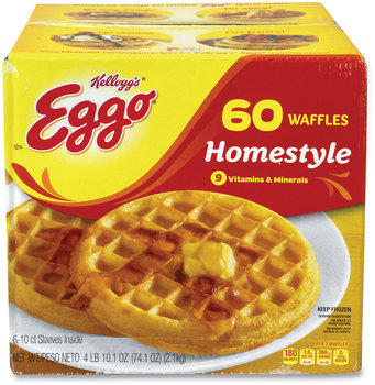 Kellogg's® Eggo Homestyle Waffles, 74.1 oz Box, 10 Waffles/Sleeve, 6 Sleeves/Box, Free Delivery in 1-4 Business Days