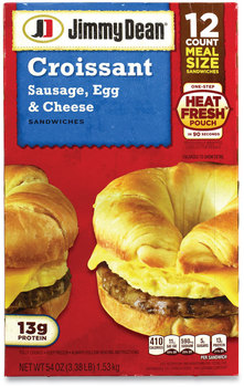 Jimmy Dean® Sausage, Egg and Cheese Croissant Breakfast Sandwich, 54 oz, 12/Box, Free Delivery in 1-4 Business Days