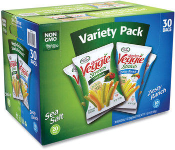 Picture of item GRR-22000413 a Sensible Portions Snacks Veggie Straws, Sea Salt/Zesty Ranch, 1 oz Bag, 30 Bags/Carton, Free Delivery in 1-4 Business Days