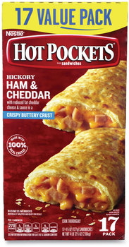 Hot Pockets® Sandwiches, Hickory Ham and Cheddar Cheese, 4.5 oz, 17/Box, Free Delivery in 1-4 Business Days