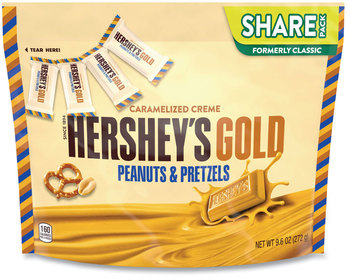 Picture of item GRR-24600416 a Hershey®'s GOLD Miniatures Pretzel and Peanuts Candy, 9.6 oz Bag, 2 Bags/Pack, Free Delivery in 1-4 Business Days