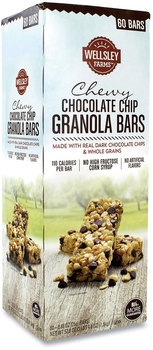 Wellsley Farms™ Chewy Chocolate Chip Granola Bars, 0.88 oz Bar, 60 Bars/Box, Free Delivery in 1-4 Business Days