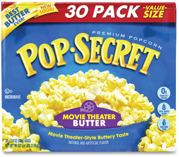 Picture of item GRR-22000633 a Pop Secret® Microwave Popcorn, Movie Theater Butter, 3 oz Bags, 30/Carton, Free Delivery in 1-4 Business Days