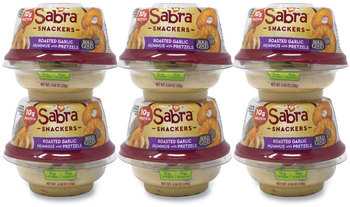 Sabra® Classic Hummus with Pretzel, 4.56 oz Cup, 6 Cups/Pack, Free Delivery in 1-4 Business Days