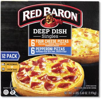 Red Baron® Deep Dish Pizza Singles Variety Pack, Four Cheese/Pepperoni, 5.5 oz Pack, 12 Packs/Box, Free Delivery in 1-4 Business Days