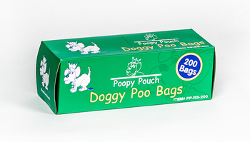 Poopy Pouch Universal Bags in Chipboard Box.  200 Bags/Roll, 10 Boxes/Case.