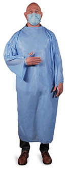 Heritage LLDPE T-Style Isolation Gowns. Size Large. Light Blue. 50/Carton.