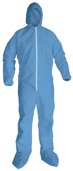 KleenGuard™ A65 Flame-Resistant Coverals with Elastic Wrists and Ankles, Boots, Hood, and Zipper Front. 3X-Large. Blue. 21/Carton.
