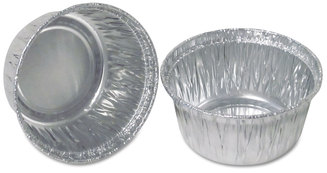 "Durable Packaging Aluminum Round Containers, 3"" Dia., 4 oz Cup, 1000/Carton"
