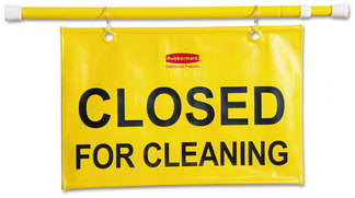 "Hanging Sign - Closed for Cleaning. Yellow. 50"" w x 1"" d x 13"" h."
