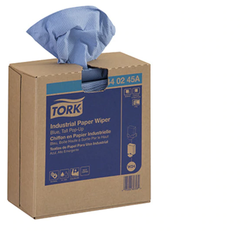 "Tork Industrial Paper Wiper, Pop-Up Box, 8.54"" x 16.5"", 4-Ply, Blue Color, 90/Box, 900/Case"