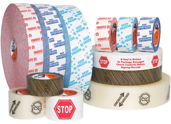 "HP 240 Printed, Production Grade Hot Melt Packaging Tape,  48 mm x 100 meters, White Tape with Red ""Stop"" Print, 36 Rolls/Case"