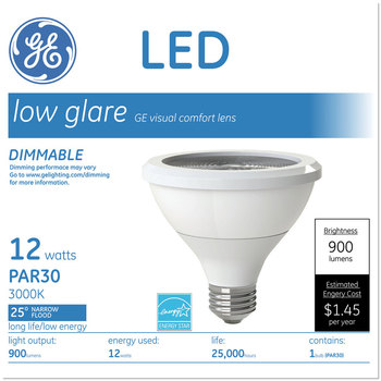 GE LED PAR30 Dimmable Warm White Flood Light Bulb, 2700K, 12 W