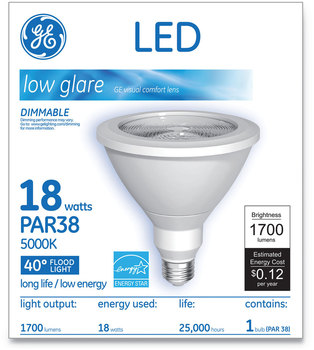 GE LED PAR38 Dimmable 40 DG Daylight Flood Light Bulb, 5000K, 18 W