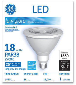 GE LED PAR38 Dimmable 25 Dg Flood Light Bulb, Soft White, 18 W