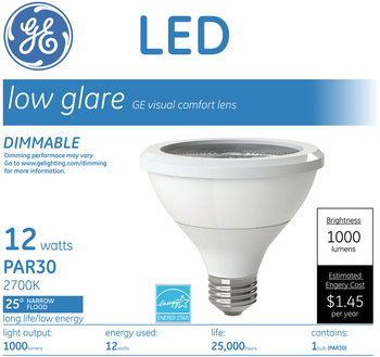 GE LED PAR30 Dimmable Warm White Flood Light Bulb, 3000K, 12 W