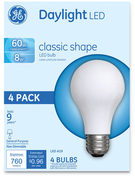 GE Classic LED Daylight Non-Dim A19 Light Bulb, 8 W, 4/Pack