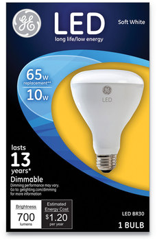 GE LED BR30 Dimmable Soft White Flood Light Bulb, 10 W
