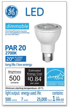 GE LED PAR20 Dimmable Warm White Flood Light Bulb, 2700K, 7 W