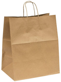 Recycled Kraft Paper Shopping Bags with Twist Handles. 68#. 14 X 9.6 X 16.5 in. 200 Bags/Case.