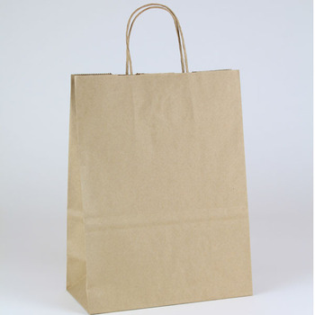 Recycled Kraft Paper Shopping Bags with Twist Handles. 61#. 10.2 X 5.1 X 12.8 in. 250 Bags/Case.